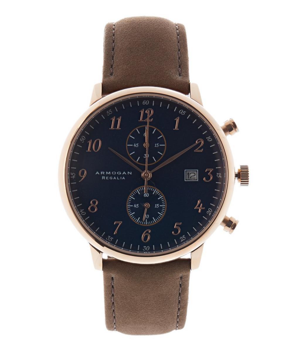 ARMOGAN Regalia C43 Suede Leather Strap Watch in Brown