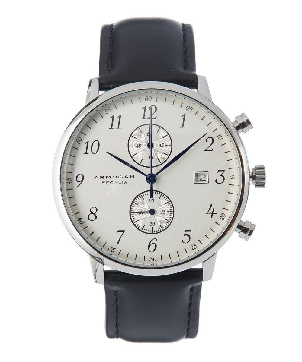 ARMOGAN Regalia C84 Black Leather Strap Watch in White