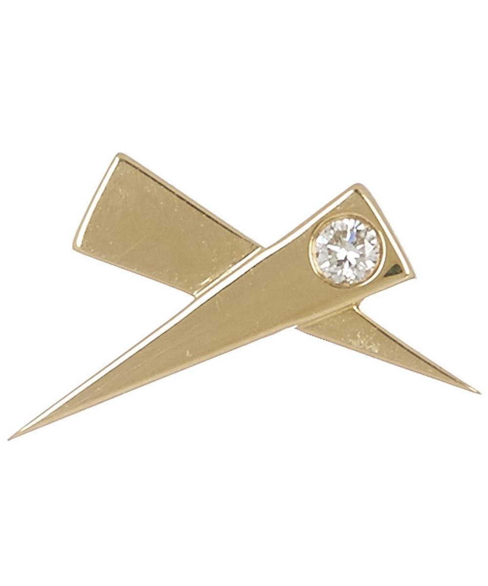 Gold Single Kiss Diamond Stud Earring