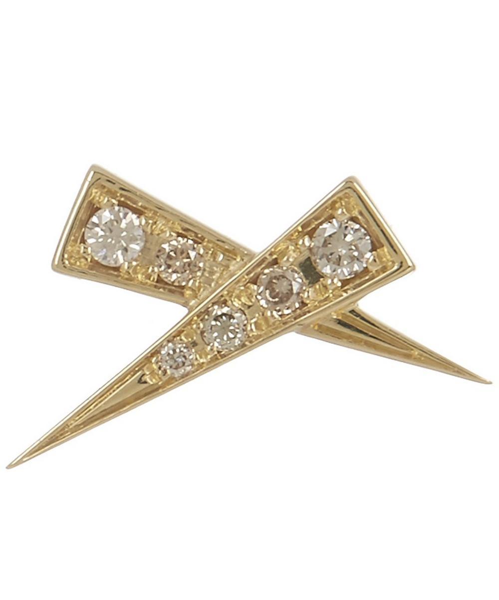 DAOU Gold Single Kiss Pave Diamond Stud Earring