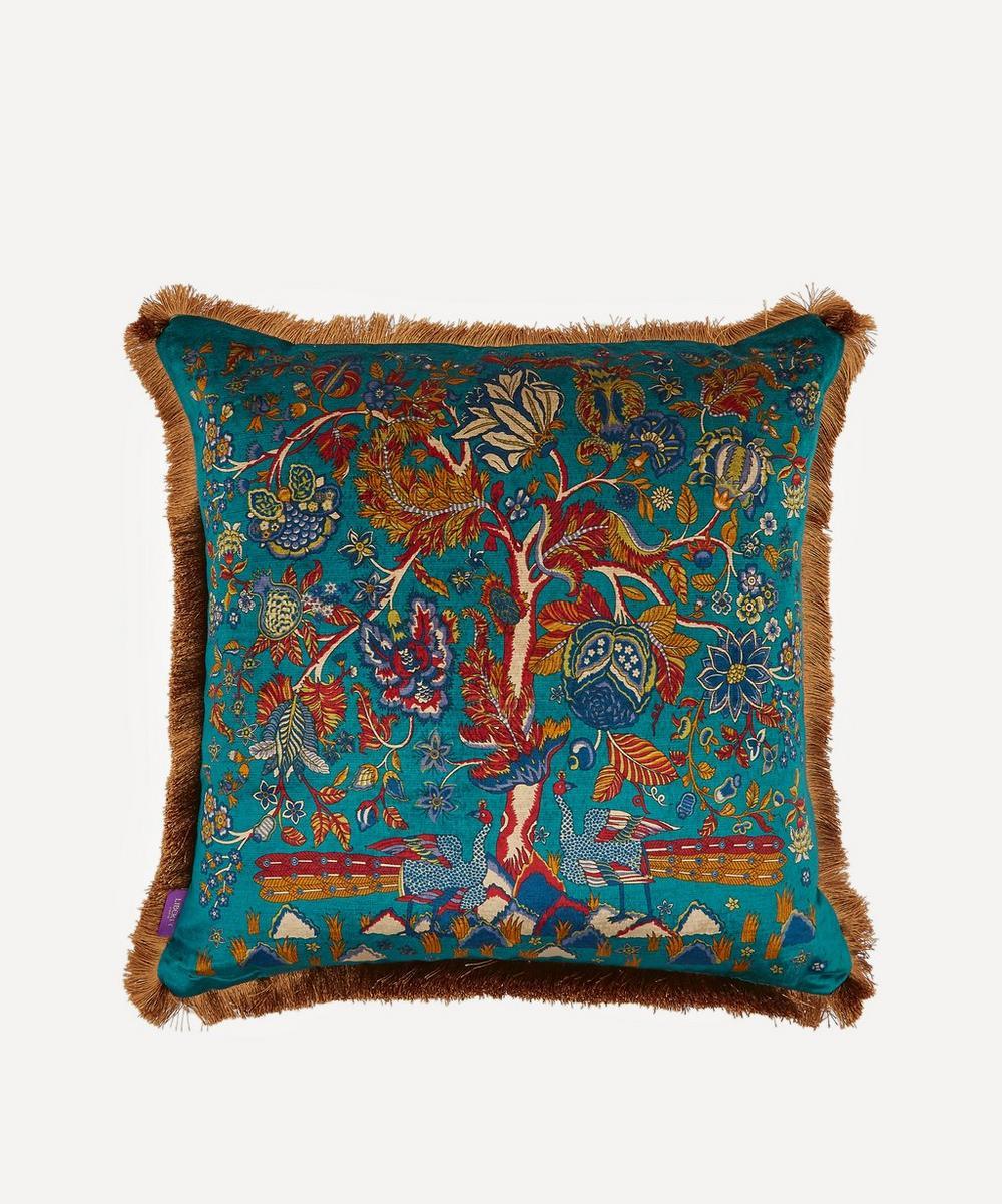 Liberty - Tree of Life Fringed Velvet Square Cushion