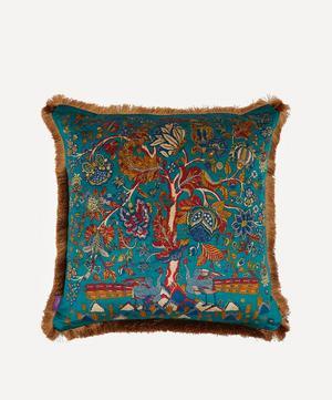 Tree of Life Fringed Velvet Square Cushion