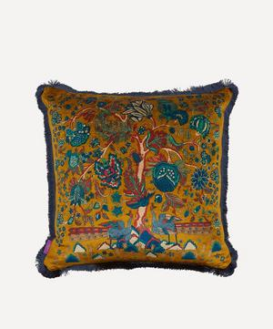 Tree of Life Fringed Velvet Square Cushion
