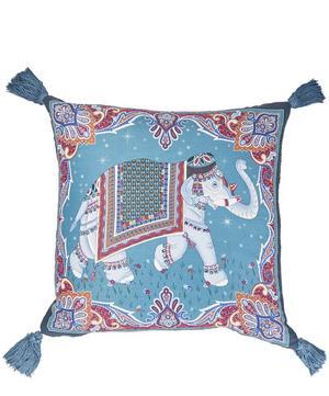 Hathi Tasselled Silk-Linen Square Cushion