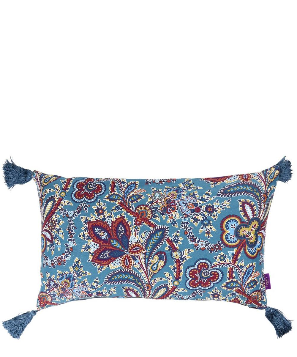 Hathi Tasselled Silk-Linen Oblong Cushion