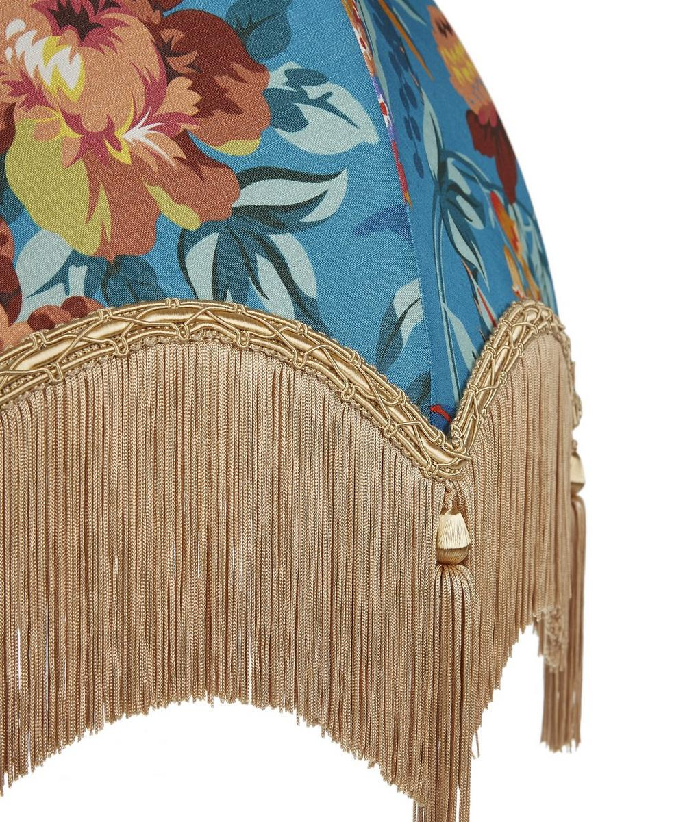 Layla 16-Inch Tasselled and Fringed Silk-Linen Lampshade
