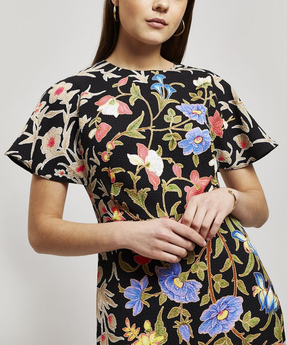 Flared Floral Print Short Sleeve Dress