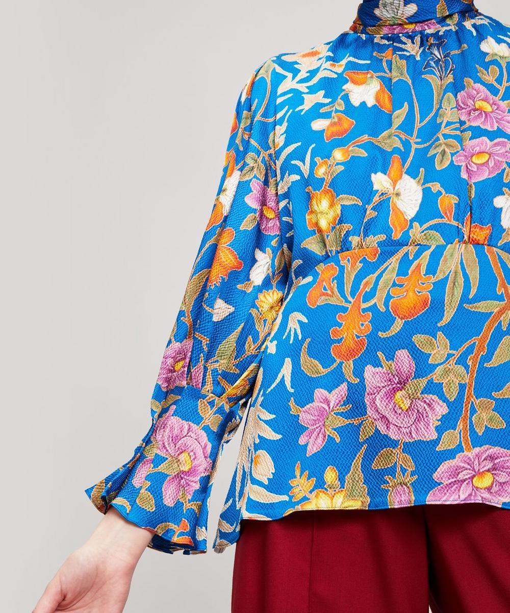 High Neck Floral Silk Top