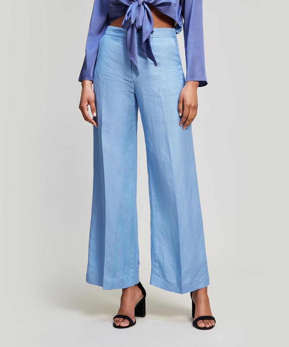 TEATUM JONES Hanover Straight Leg Crop Trousers in Summer Blue Linen