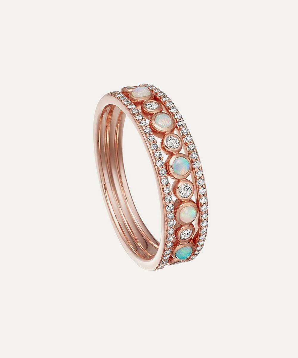 Astley Clarke Rose Gold Triple Icon Nova Opal Ring