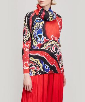Flame Tattoo Print Turtleneck Top