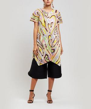 Wooden-Print Short Sleeve Dress