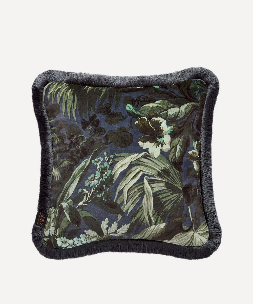 Medium Limerence Ink Velvet Fringe Cushion