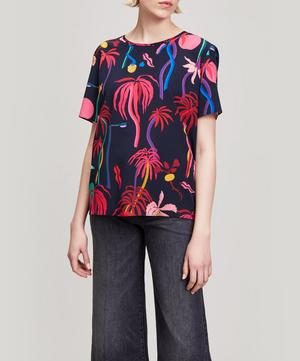 Jungle Print Silk T-Shirt