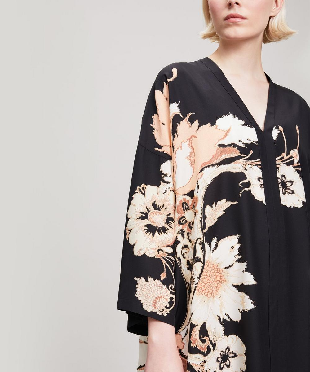 Flower Print Silk Kaftan Dress