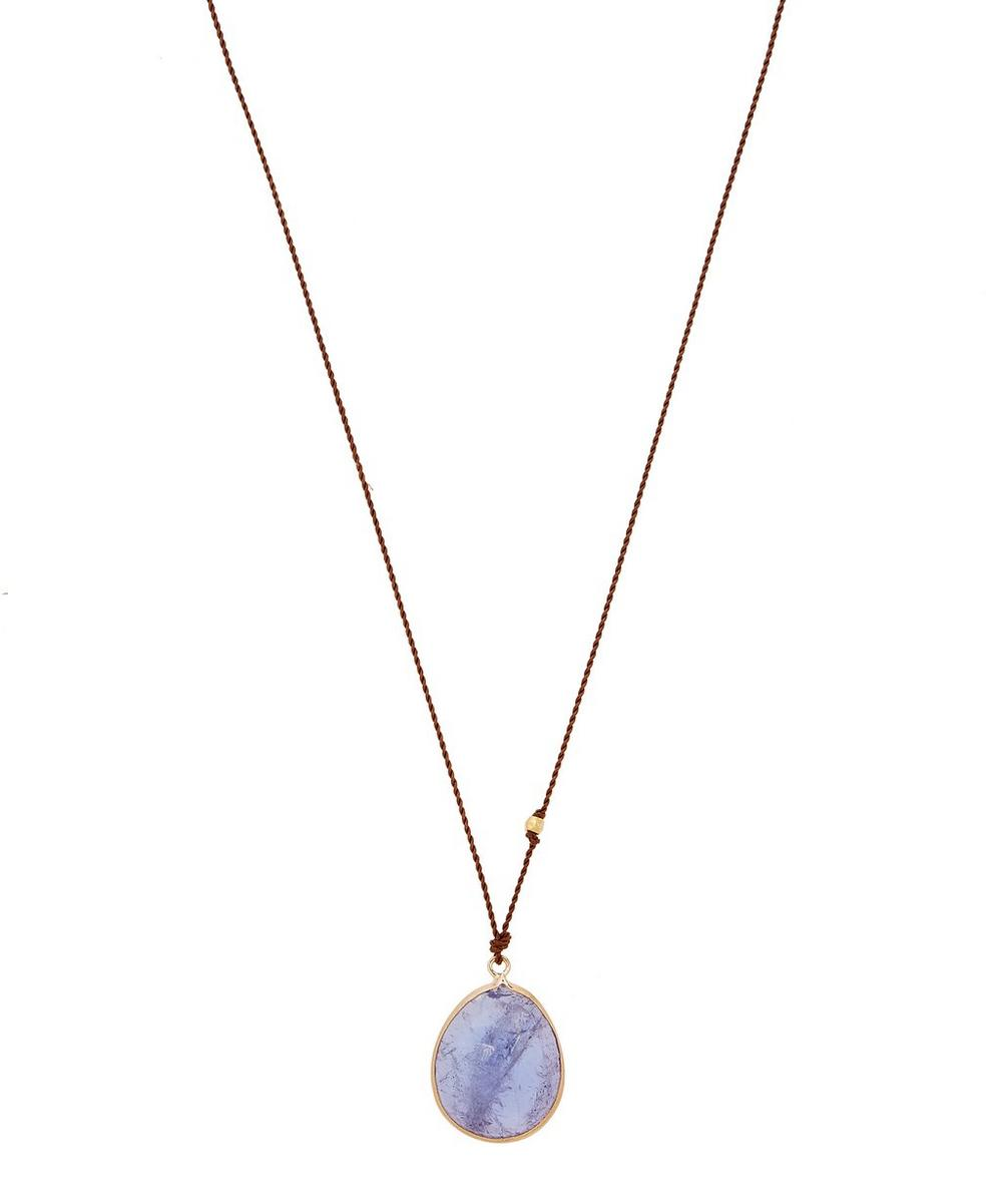 MARGARET SOLOW Gold Clasp Tanzanite Cord Necklace