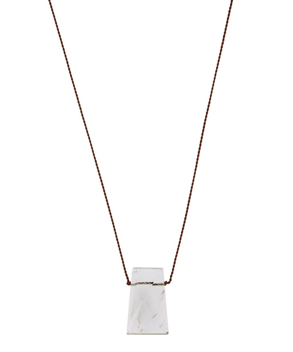 Silver Clasp Geo Prasiolite Cord Necklace