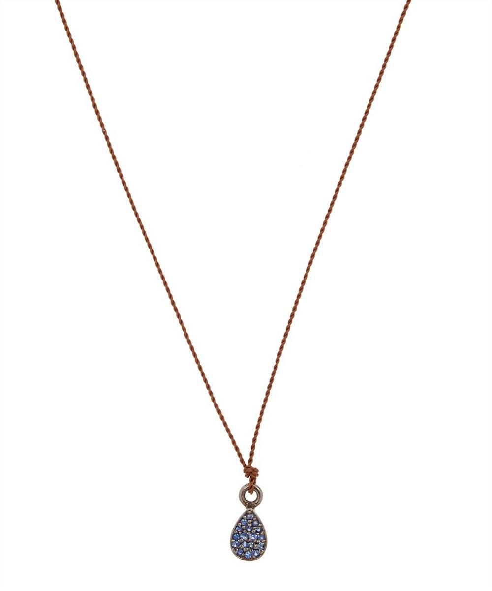 MARGARET SOLOW Silver Blue Sapphire Cluster Cord Necklace