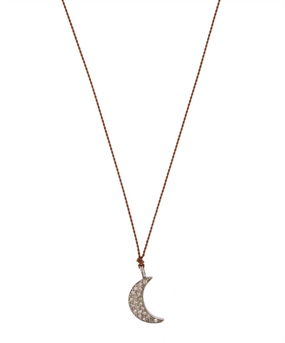 MARGARET SOLOW Silver Diamond Crescent Moon Cord Necklace