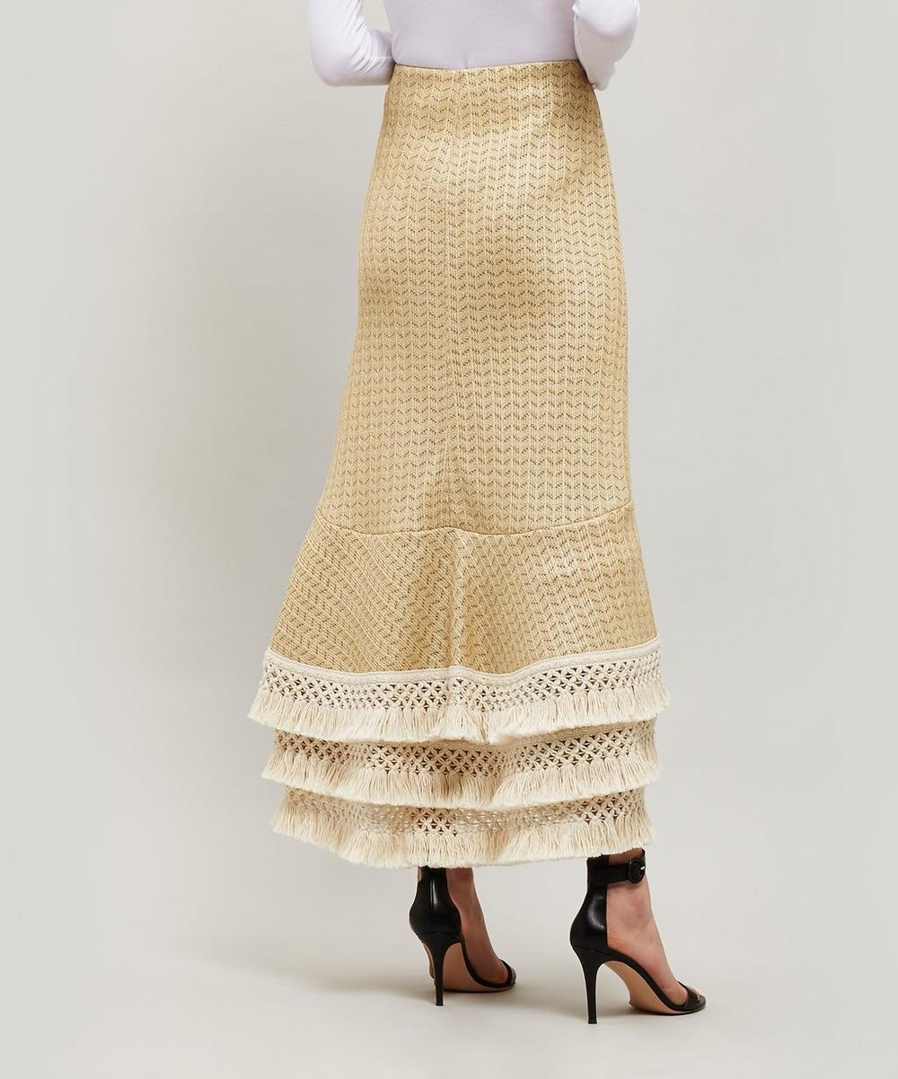 Tiered Tassel Hem Raffia Skirt