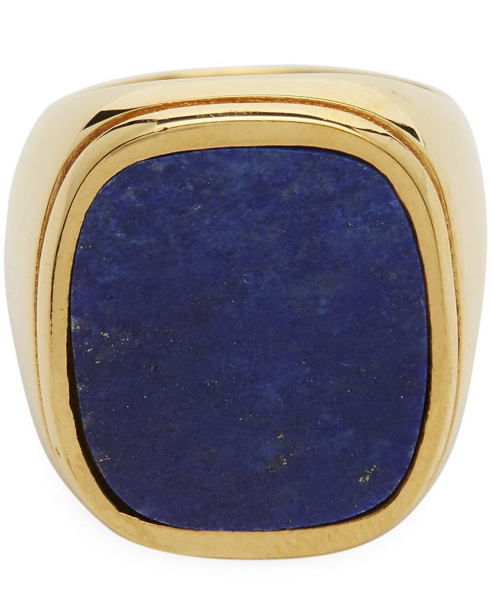 Gold-Plated Lapis Lazuli Signet Ring