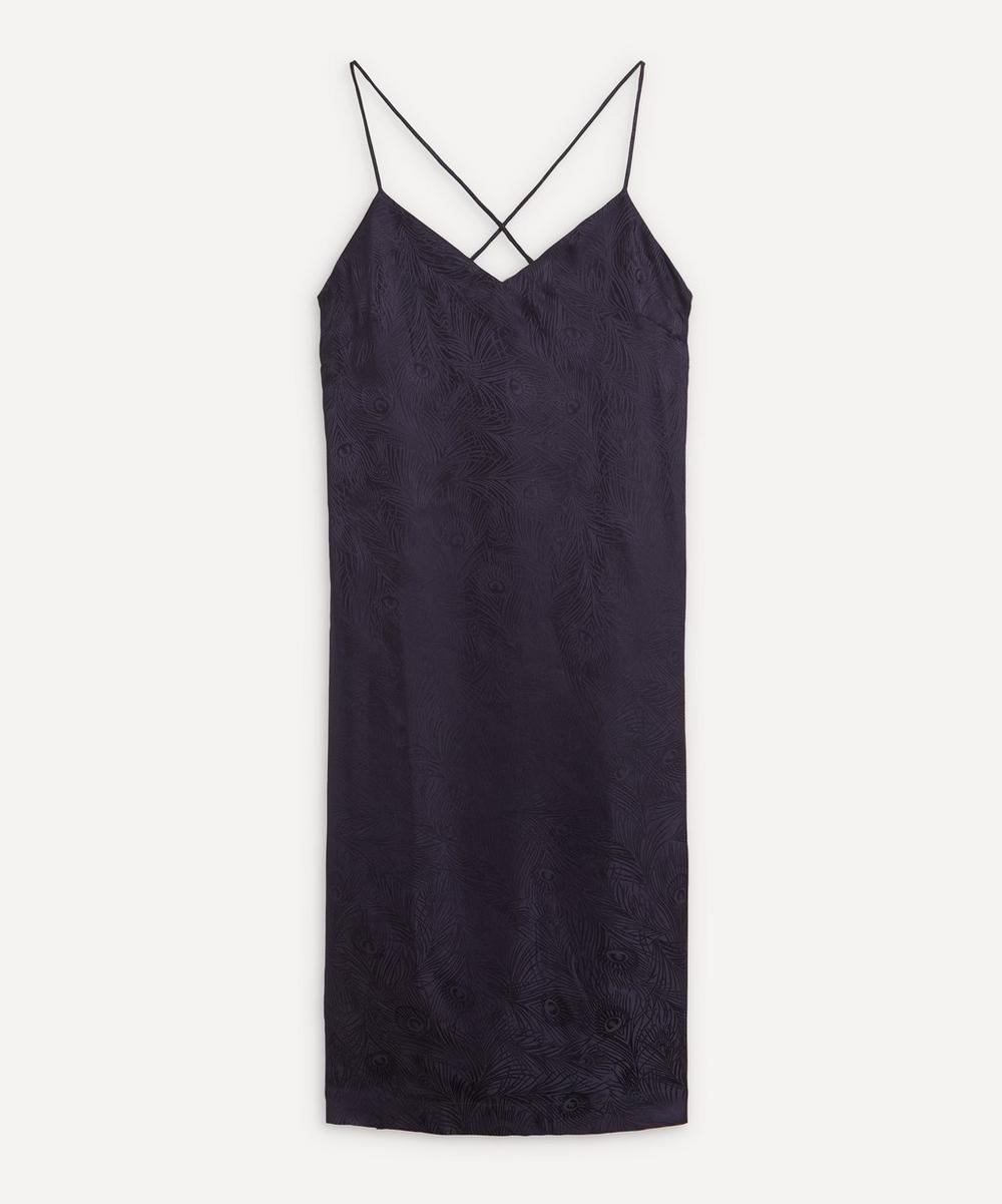 Liberty - Hera Silk Jacquard Long Chemise With Lace