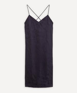 Hera Silk Jacquard Long Chemise With Lace