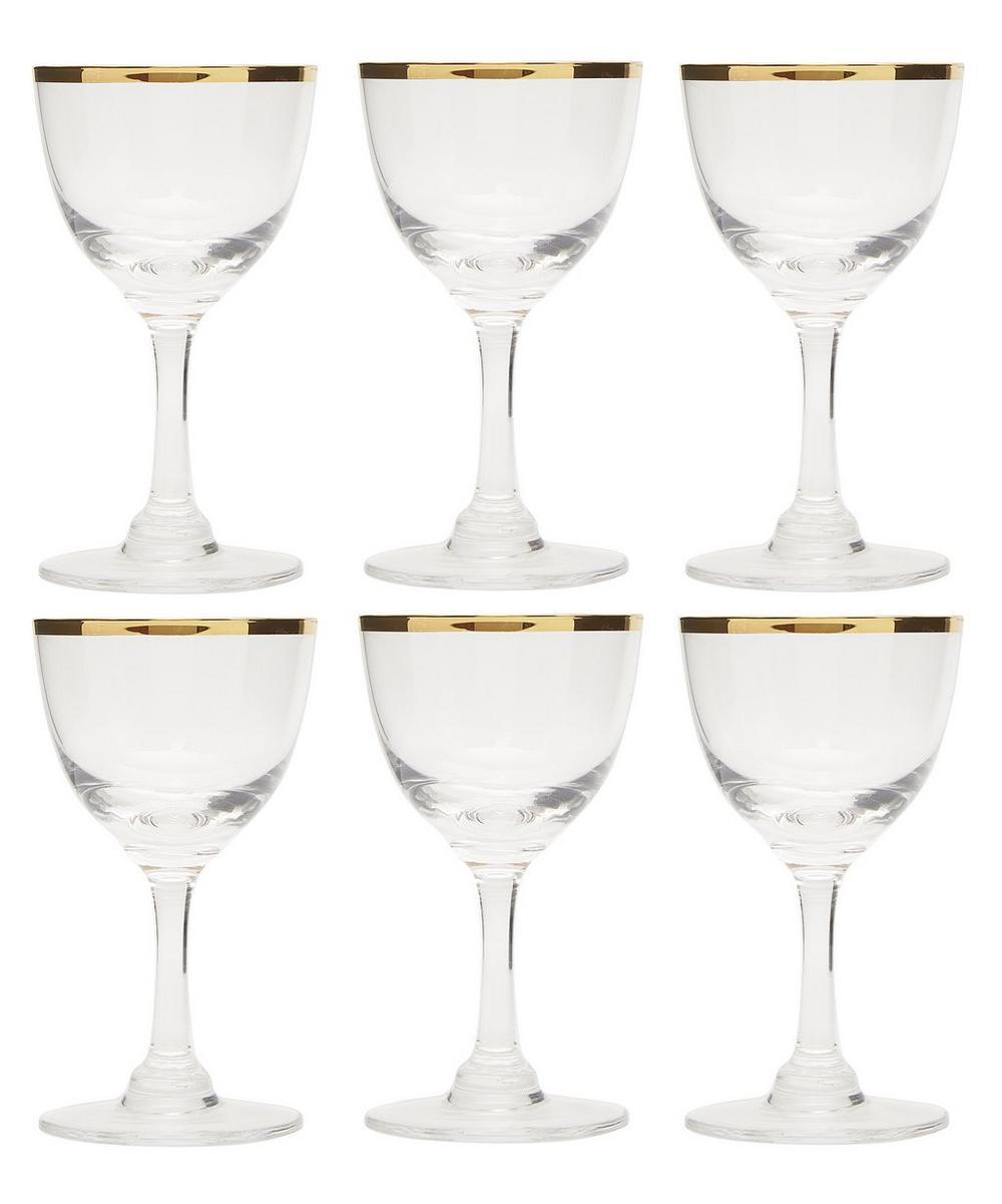Eltham Gold Rimmed Liqueur Glasses Set Of Six