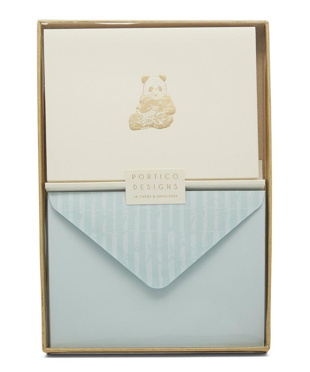 Panda Gold-Tone Foil Notecards