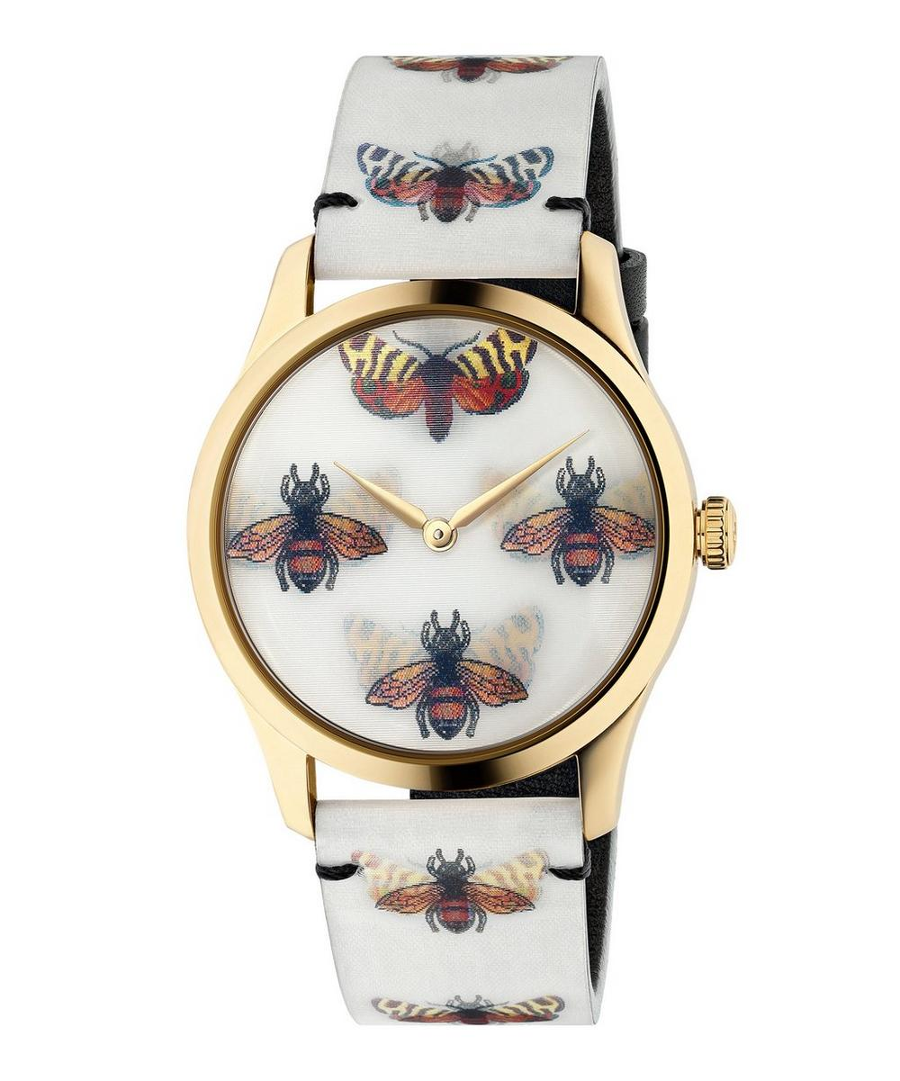 G-Timeless Leather Butterfly and Bee Motif Watch