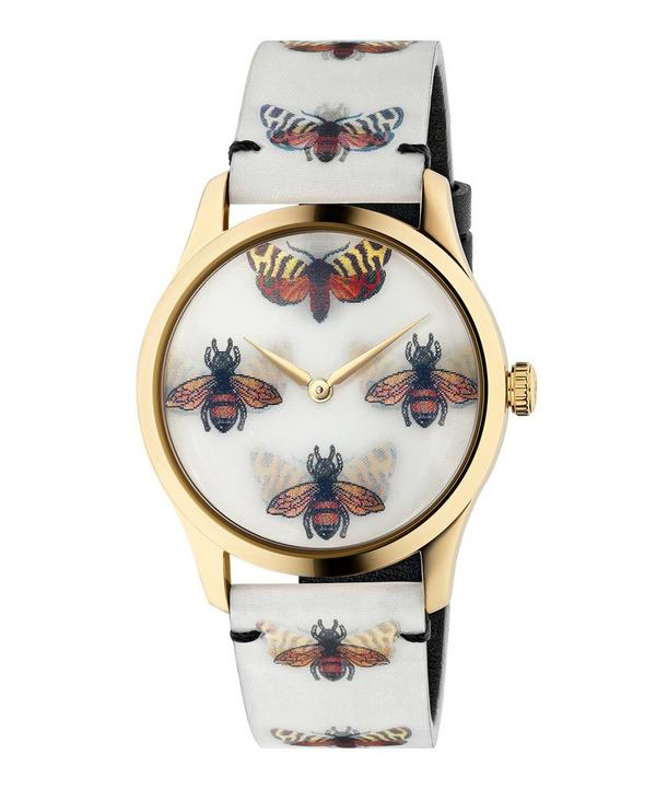 3caae7e5eea G-Timeless Leather Butterfly and Bee Motif Watch ...