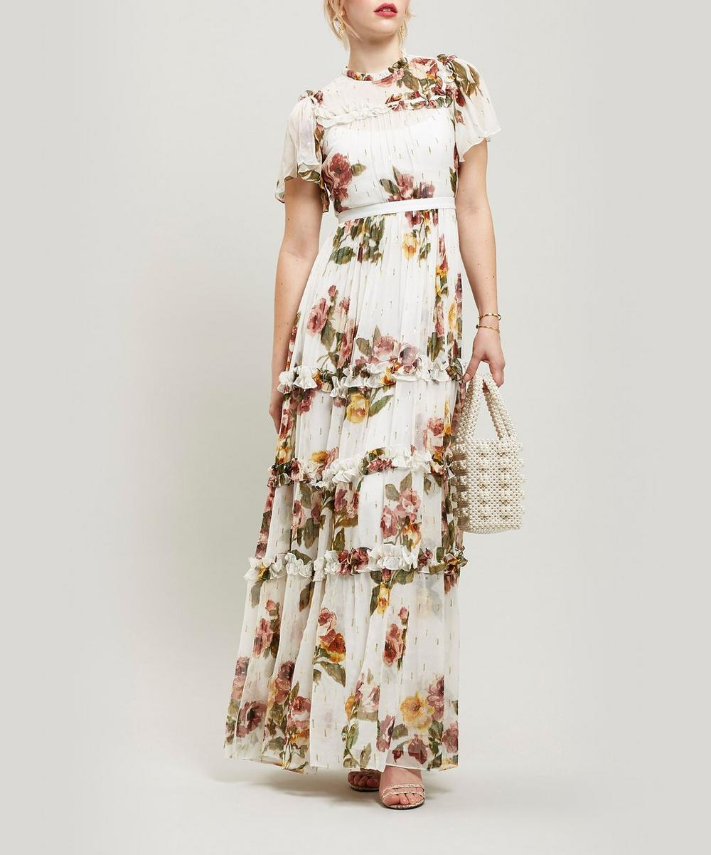 Venetian Metallic Rose Maxi-Dress