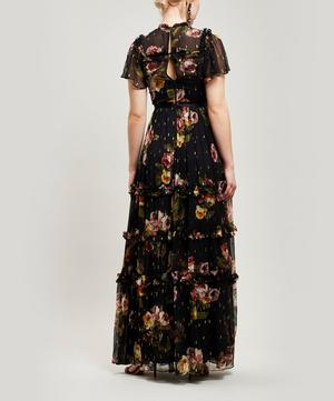Venetian Metallic Rose Maxi-Dress