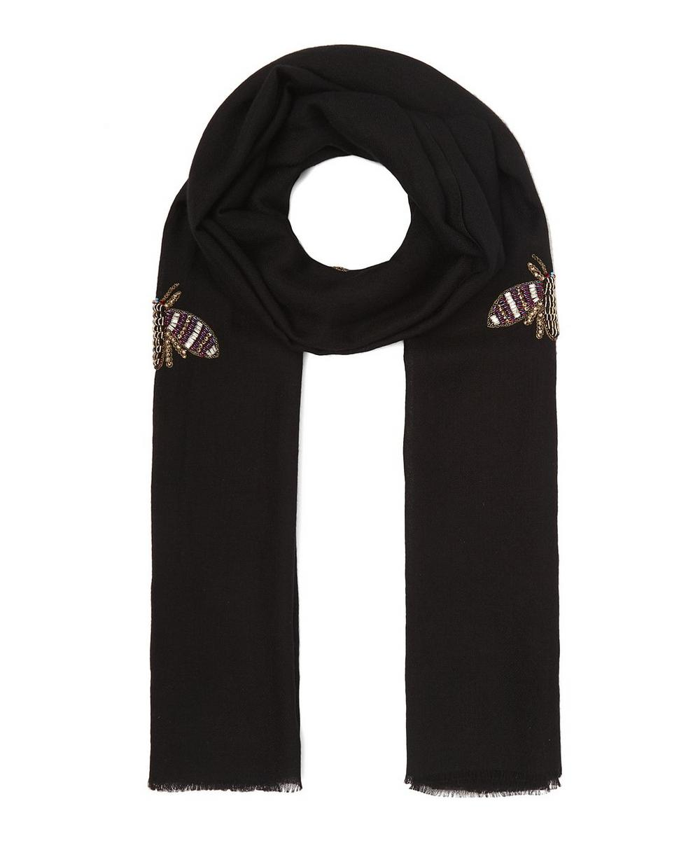 JANAVI Embroidered Bee Cashmere Scarf in Black