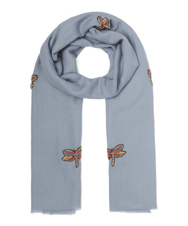 Embellished Dragonfly Merino Wool Scarf