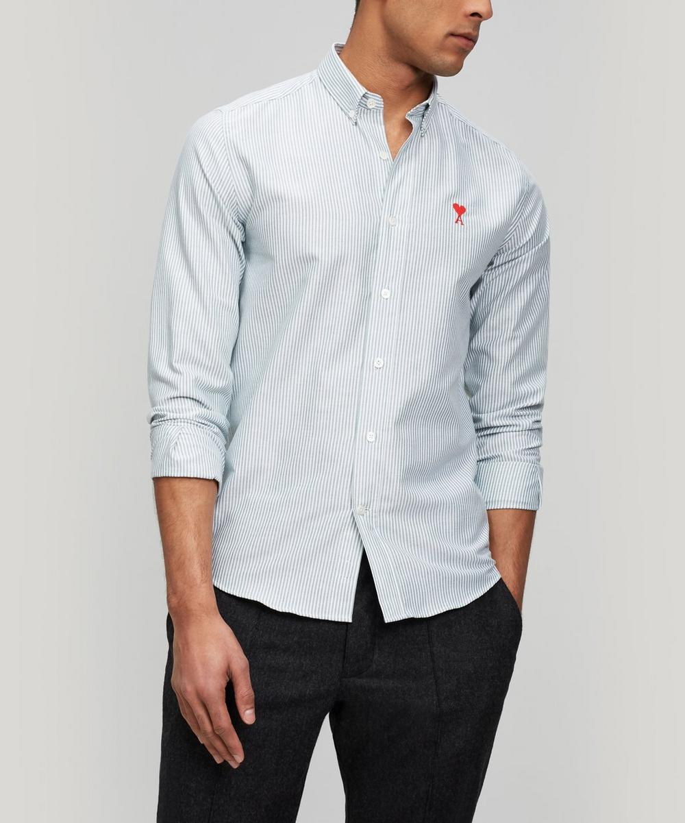 Micro-Stripe Heart Logo Shirt