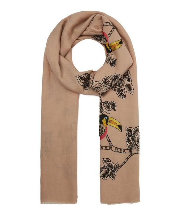 Embroidered Toucan on Tree Merino Wool Scarf