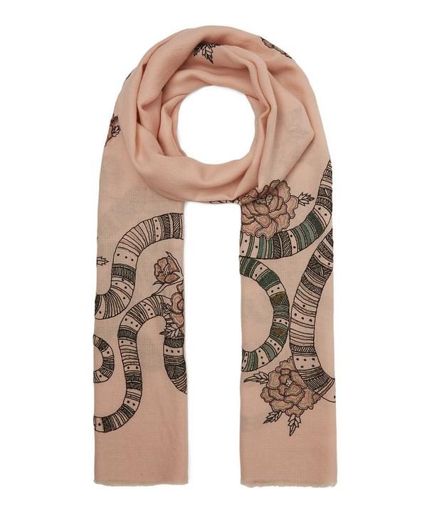 Embroidered Snake Merino Wool Scarf