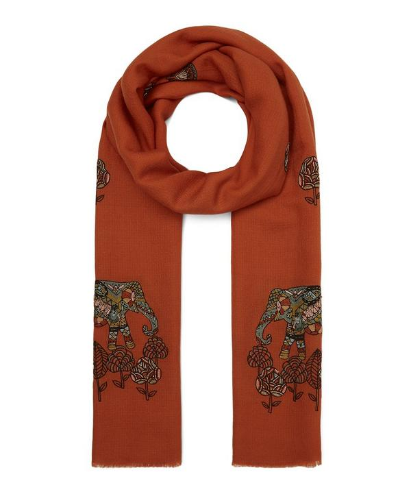 Embroidered Elephant Floral Merino Wool Scarf