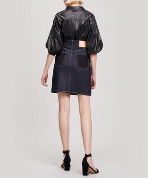 Black Horse Denim Wool Midi Skirt