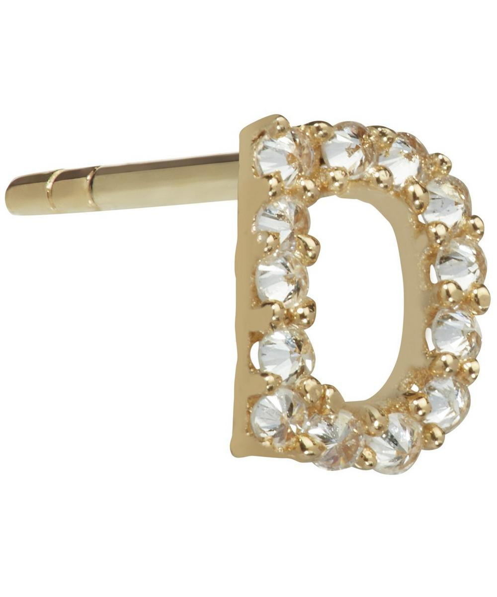 ANNOUSHKA Yellow Gold And Diamond Initial D Single Stud Earring