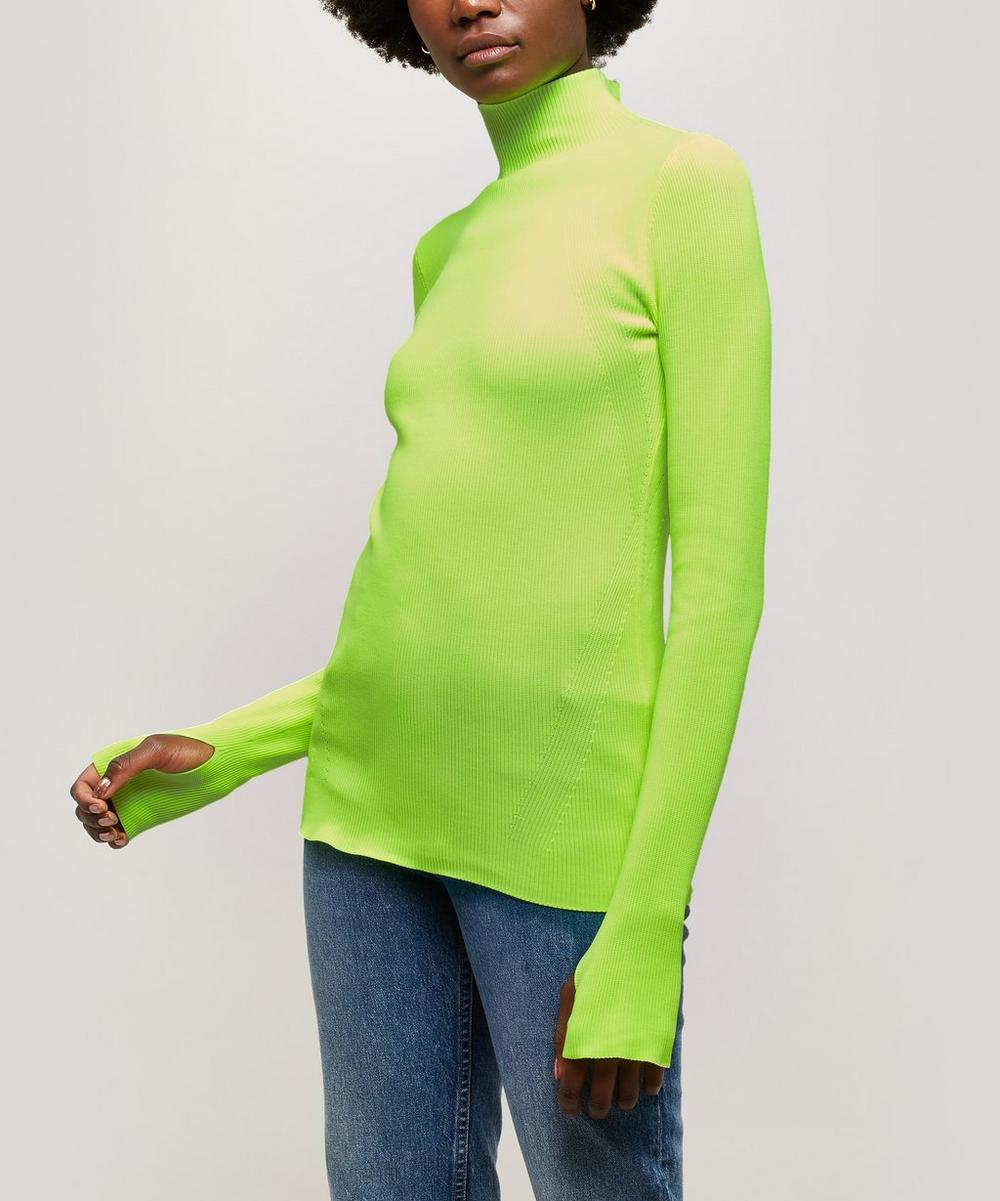 Neon Ribbed Cotton Turtleneck Sweater