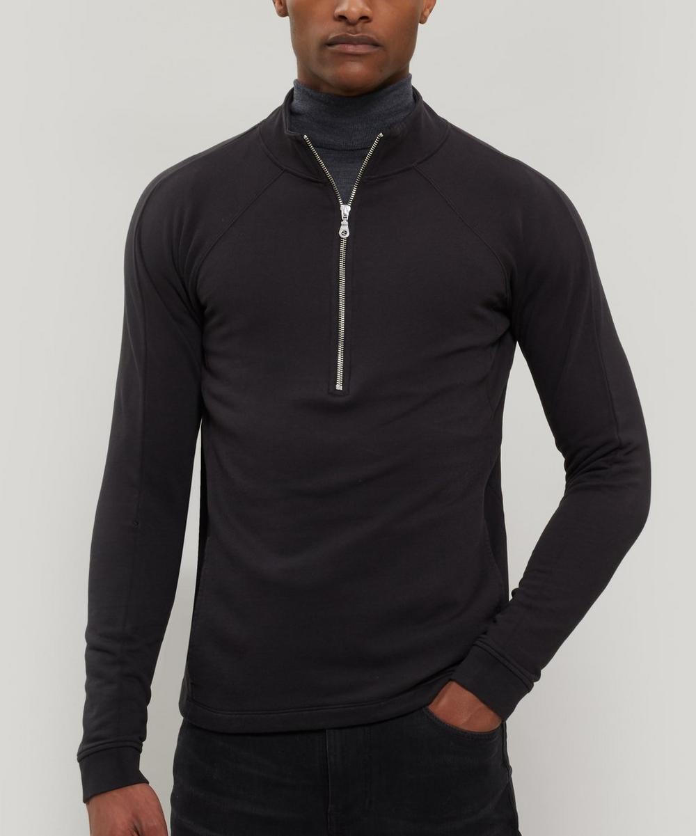FOLK Rivet Loopback Cotton-Jersey Half-Zip Sweatshirt - Black