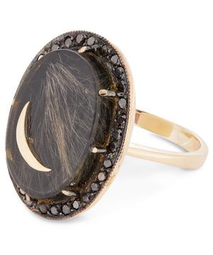 Gold Black Onyx and Quartz Diamond Moon Ring