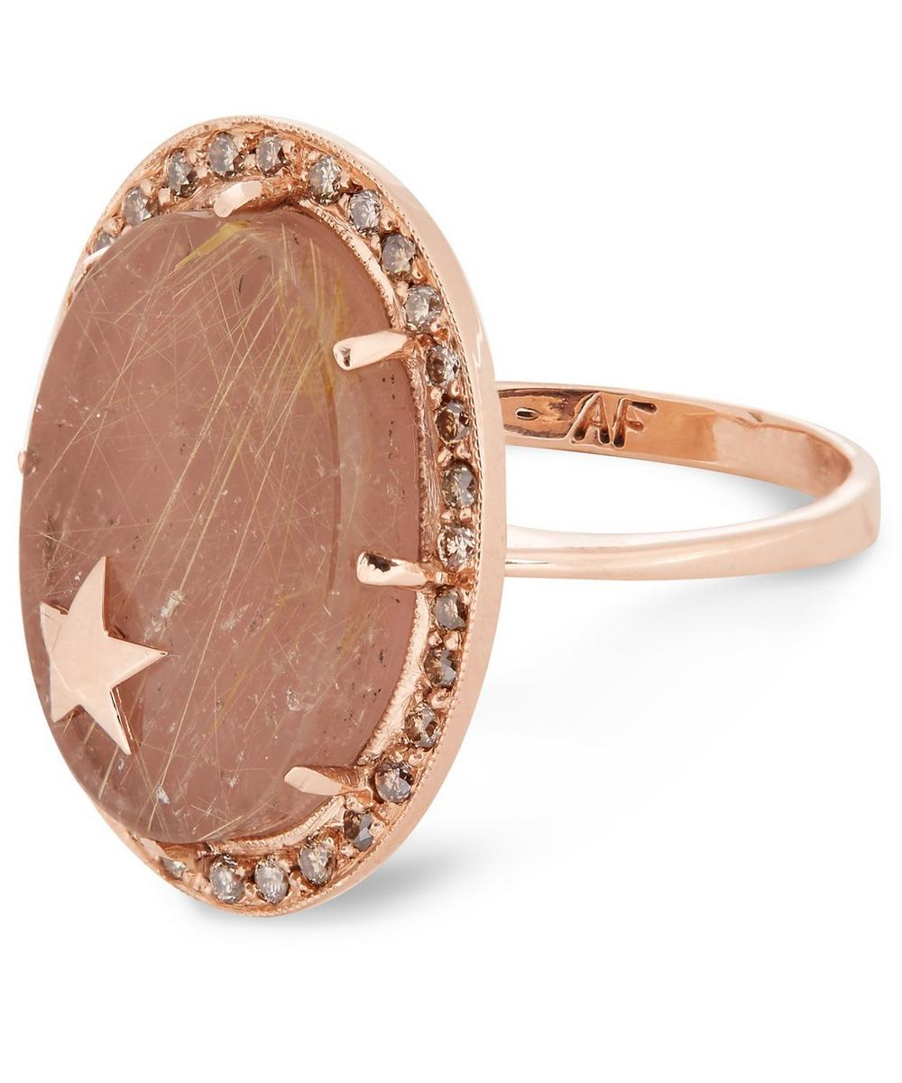Rose Gold Guava and Rutilated Quartz Diamond Star Ring