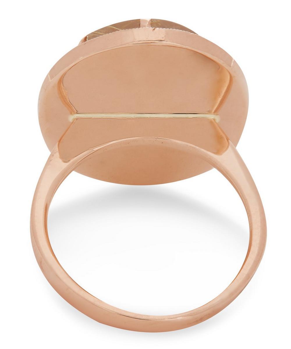 Rose Gold Guava and Rutilated Quartz Diamond Star Ring