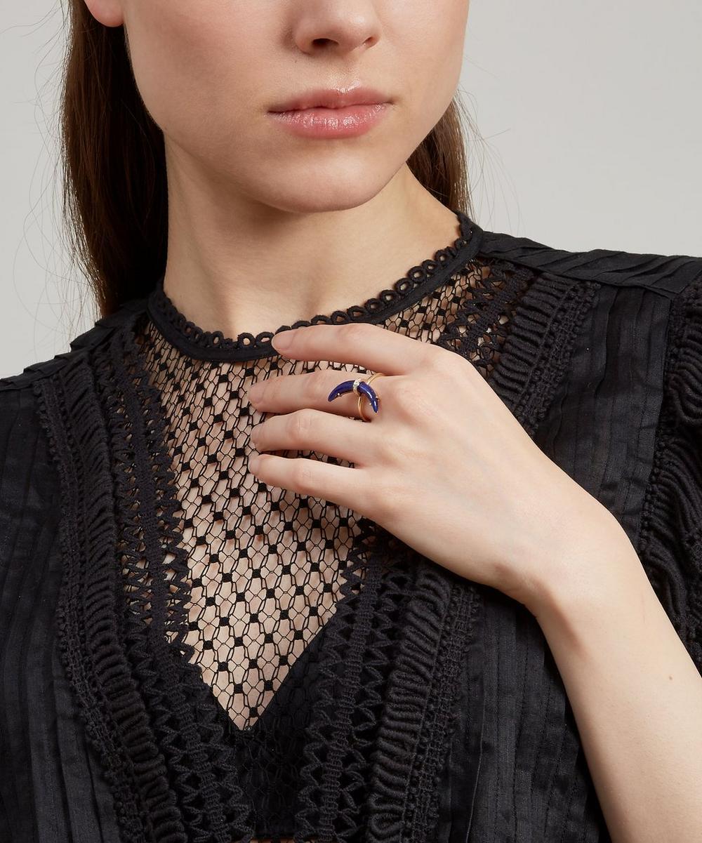 Gold Lapis Lazuli Crescent Moon Diamond Ring