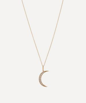 Gold White Diamond Medium Luna Necklace