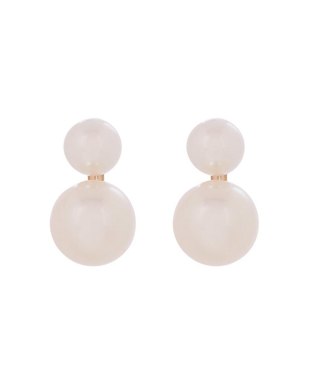 Gold Pearl Dewdrop Stud Earrings