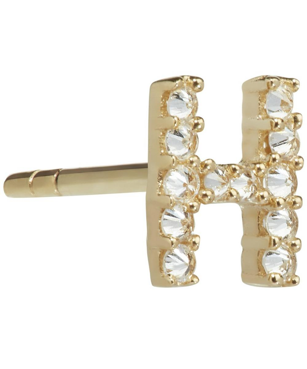 Yellow Gold And Diamond Initial H Single Stud Earring